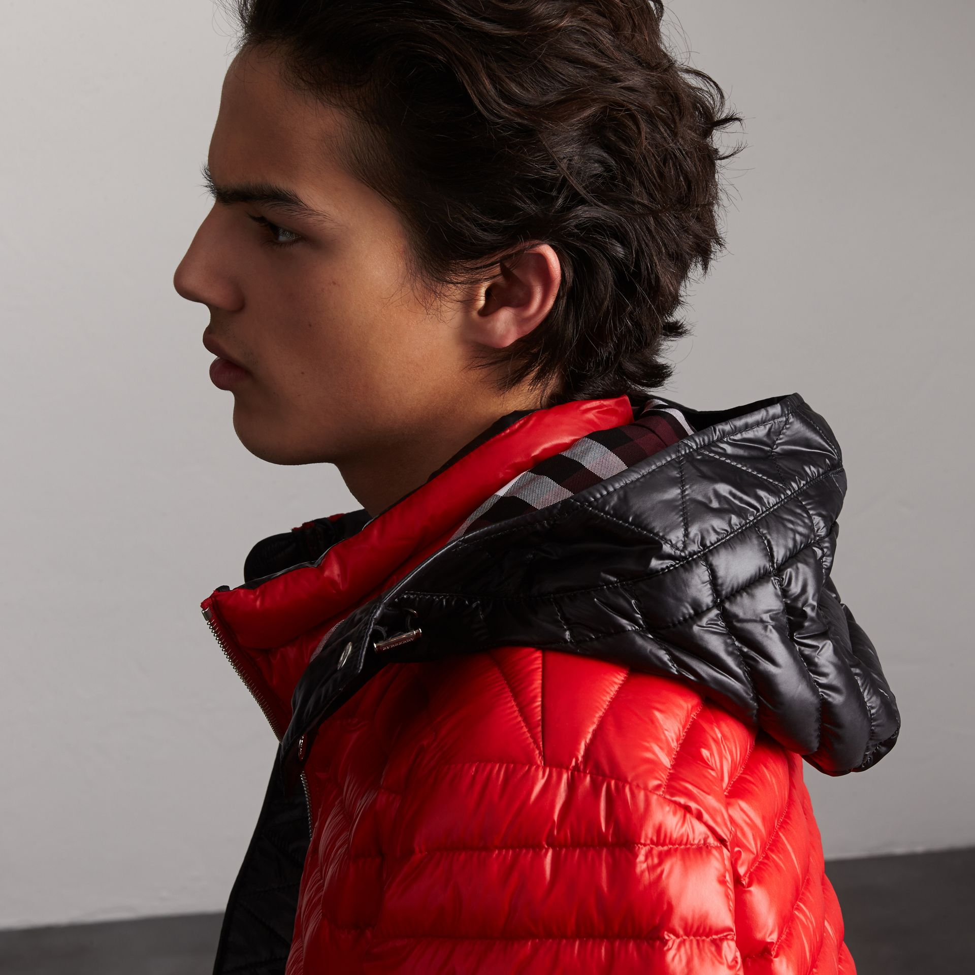 Packaway Hood Down-filled Puffer Jacket in Military Red - Men | Burberry Singapore - gallery image 4