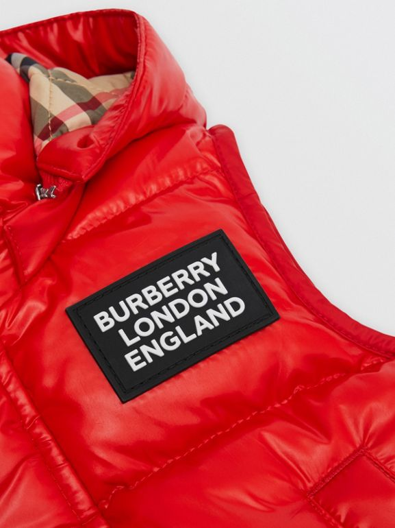 Detachable Hood Nylon Puffer Gilet in Pillar Box Red - Children | Burberry United Kingdom - cell image 1