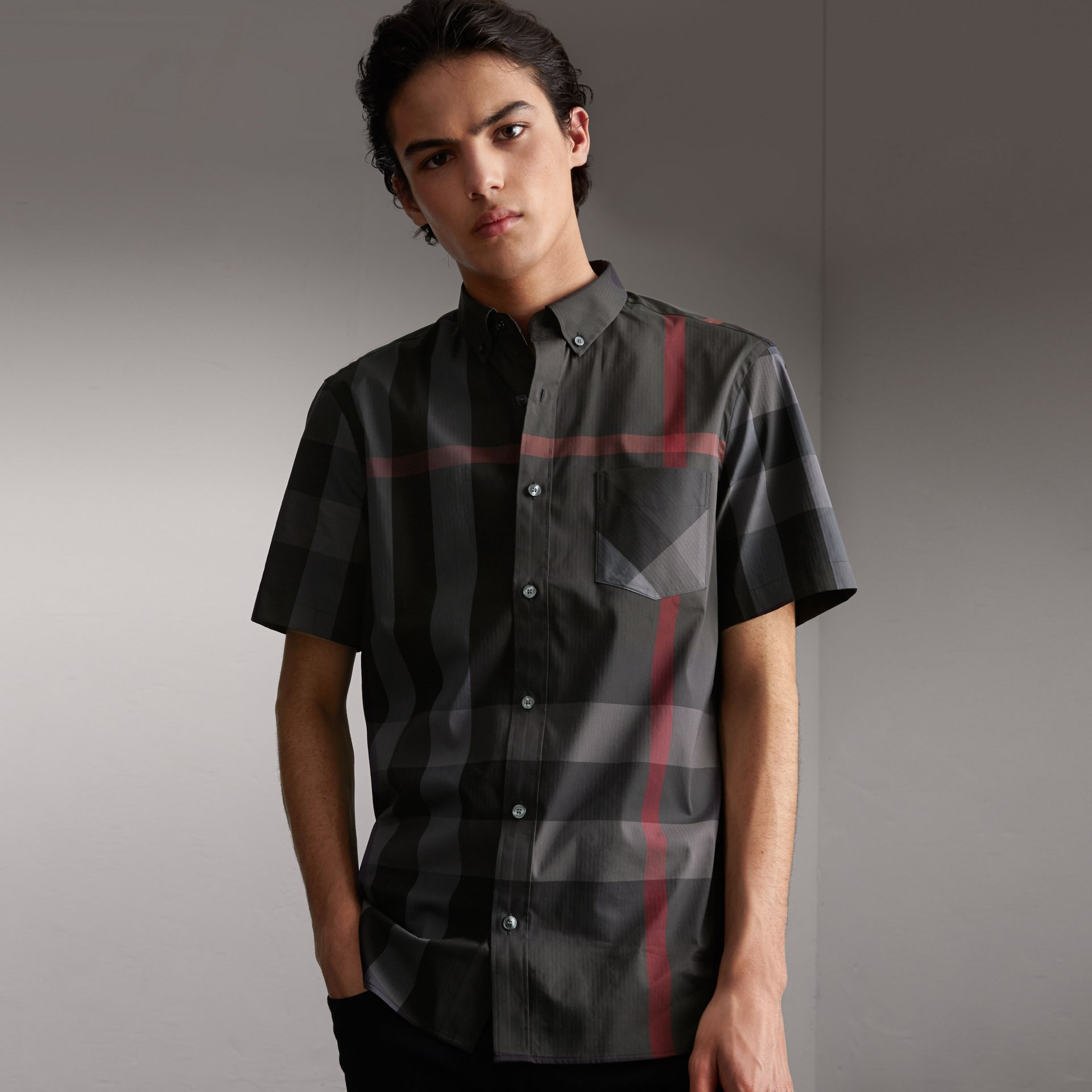Short-sleeve Check Stretch Cotton Blend Shirt in Charcoal - Men | Burberry - gallery image 0