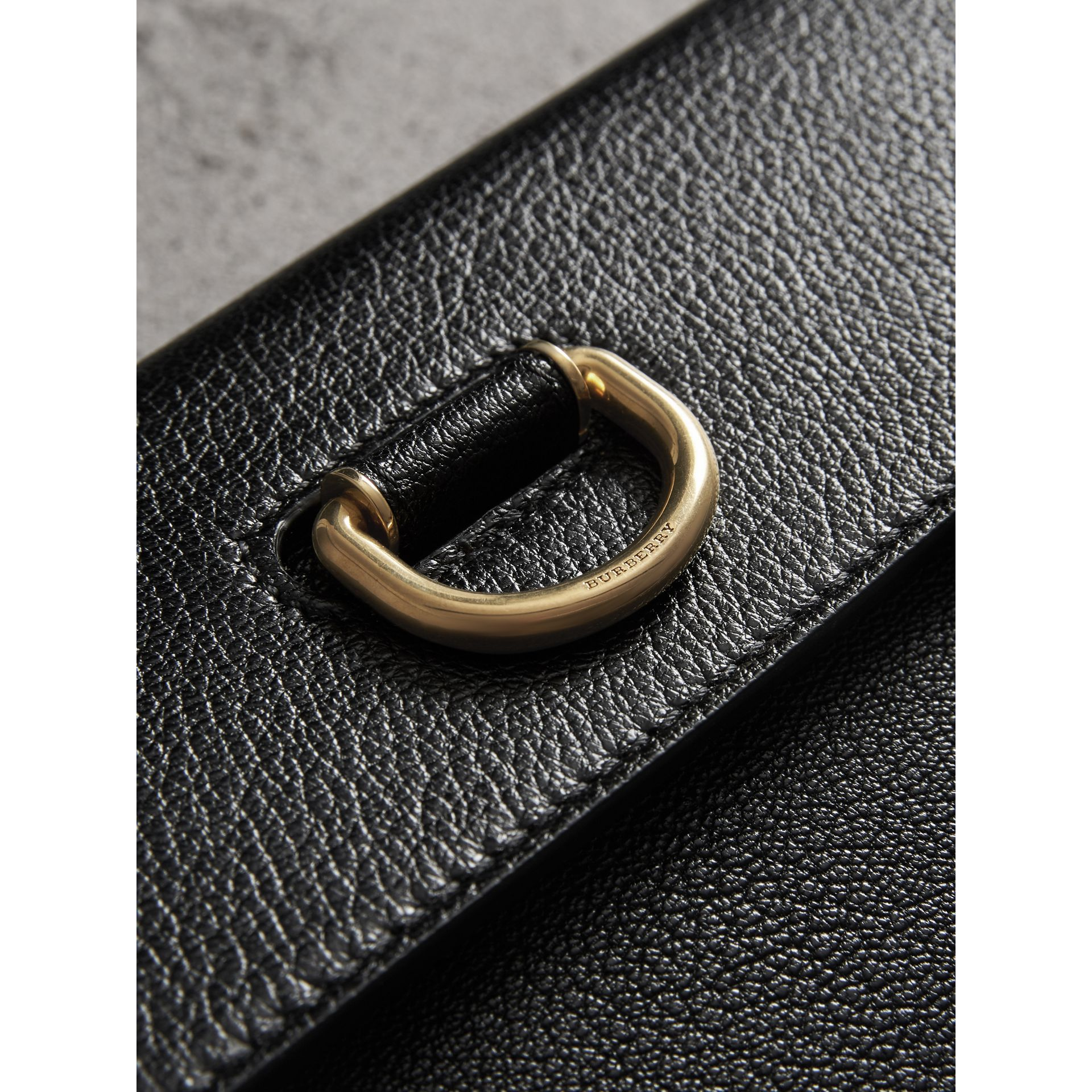 D-ring Leather Pouch with Zip Coin Case in Black/yellow - Women | Burberry United States - gallery image 1