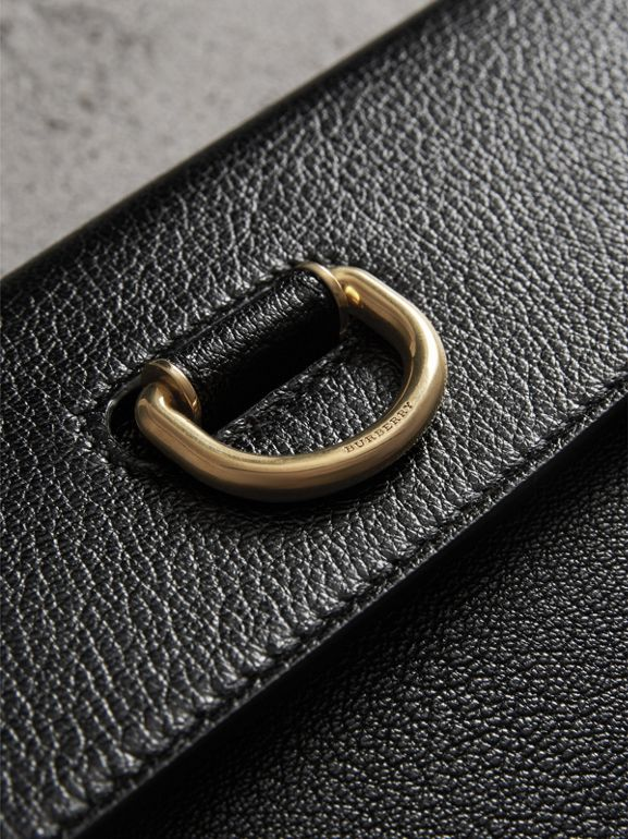 D-ring Leather Pouch with Zip Coin Case in Black/yellow - Women | Burberry United Kingdom - cell image 1