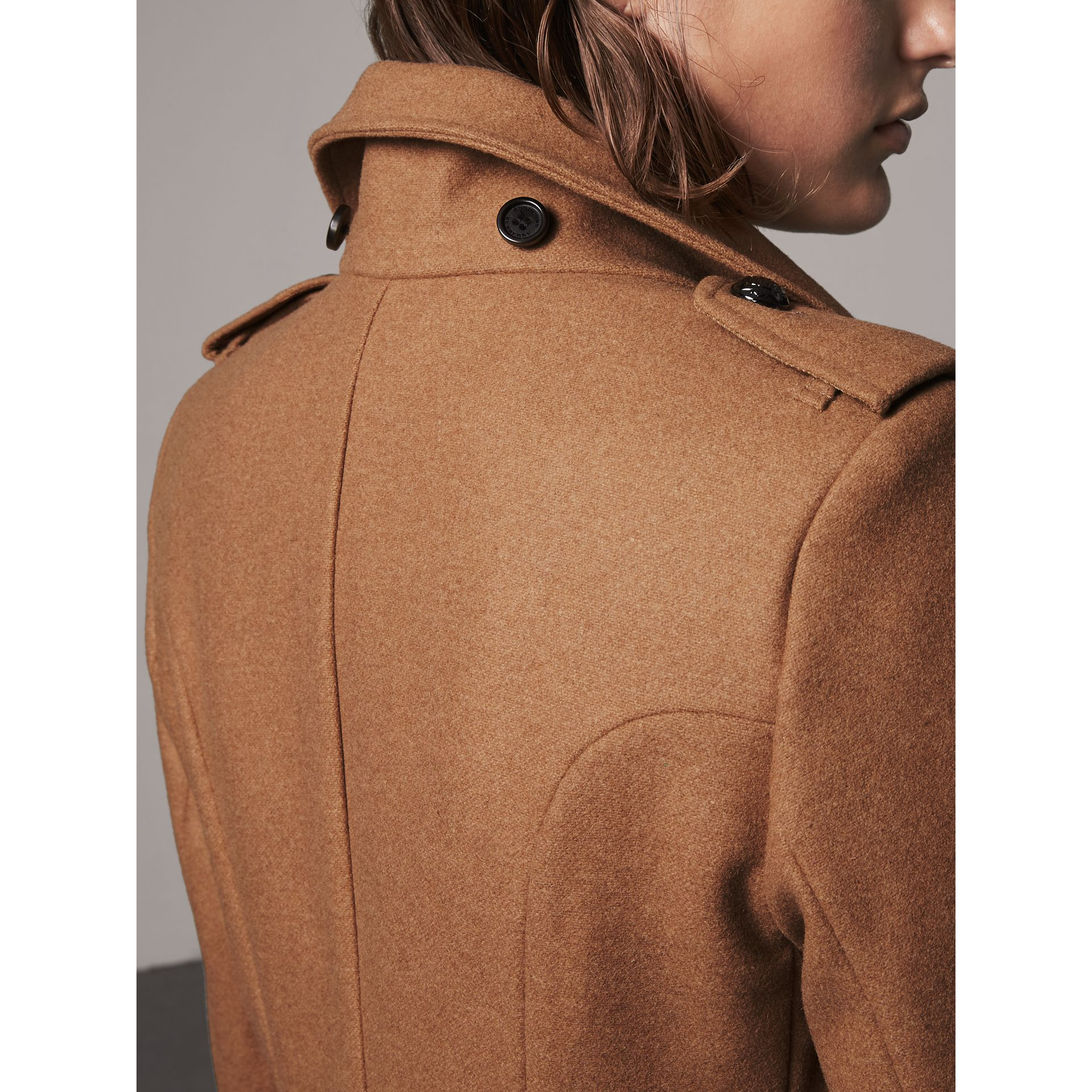 Hooded Wool Blend Coat with Detachable Fur Trim in Camel Melange - Women | Burberry - gallery image 5