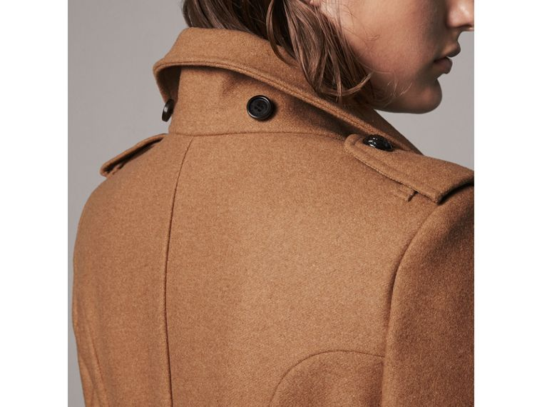 Hooded Wool Blend Coat with Detachable Fur Trim in Camel Melange - Women | Burberry - cell image 4