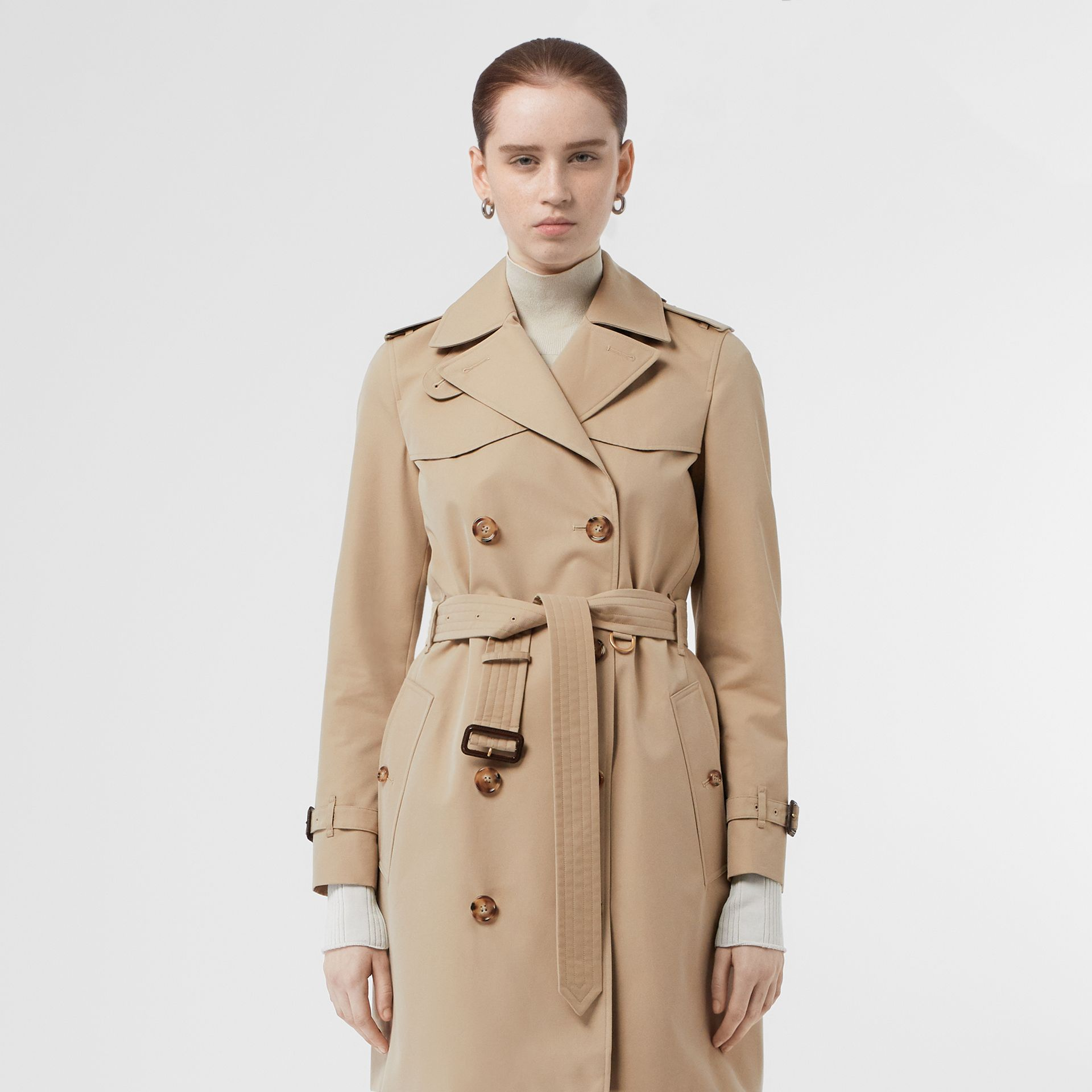 Cotton Gabardine Trench Coat in Honey - Women | Burberry Singapore - gallery image 7