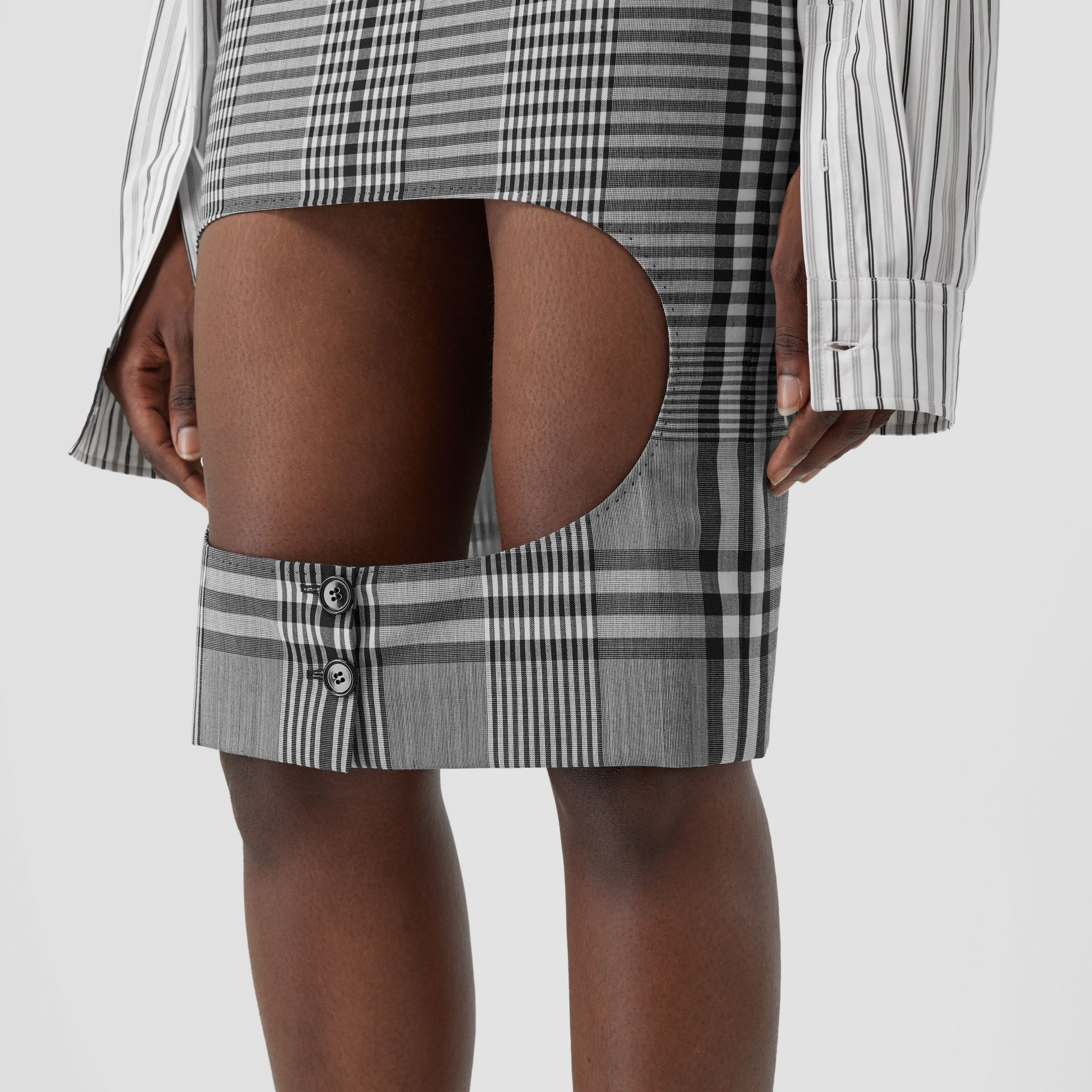 Check Technical Wool Step-through Skirt in Black - Women | Burberry - gallery image 5