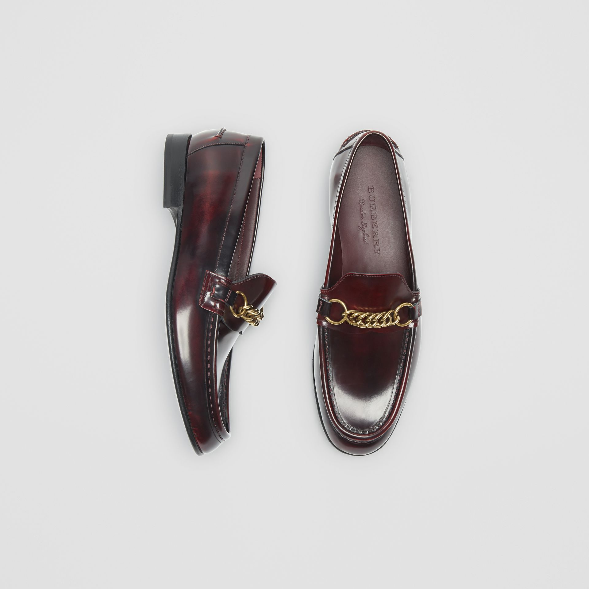 The Leather Link Loafer in Bordeaux - Men | Burberry - gallery image 0
