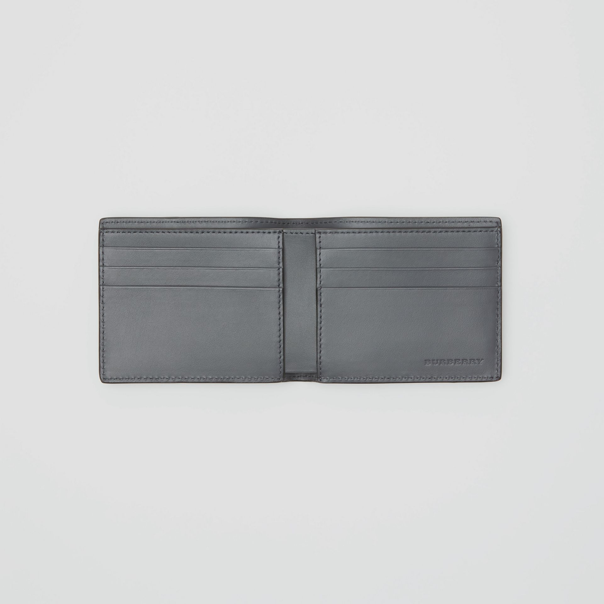 Small Scale Check and Leather Bifold Wallet in Antique Yellow/dark Grey - Men | Burberry - gallery image 3