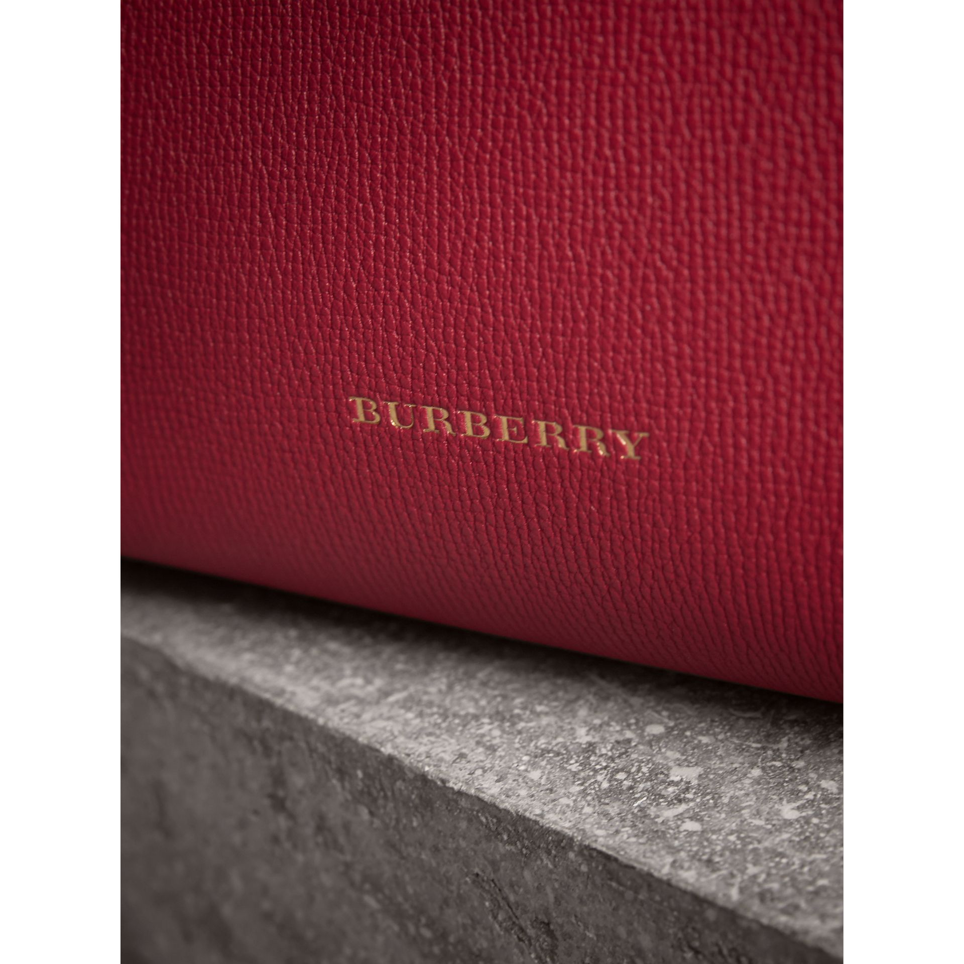 The Small Banner in Leather and House Check in Russet Red - Women | Burberry Hong Kong - gallery image 1