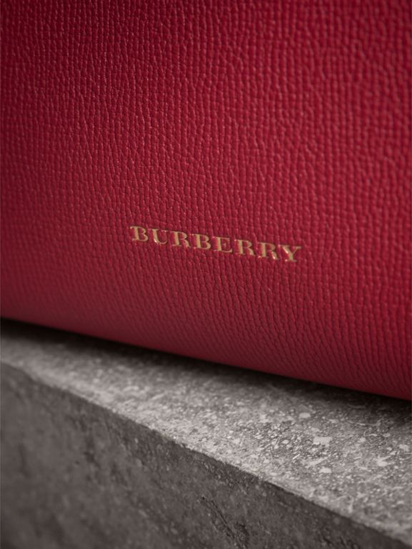 The Small Banner in Leather and House Check in Russet Red - Women | Burberry - cell image 1