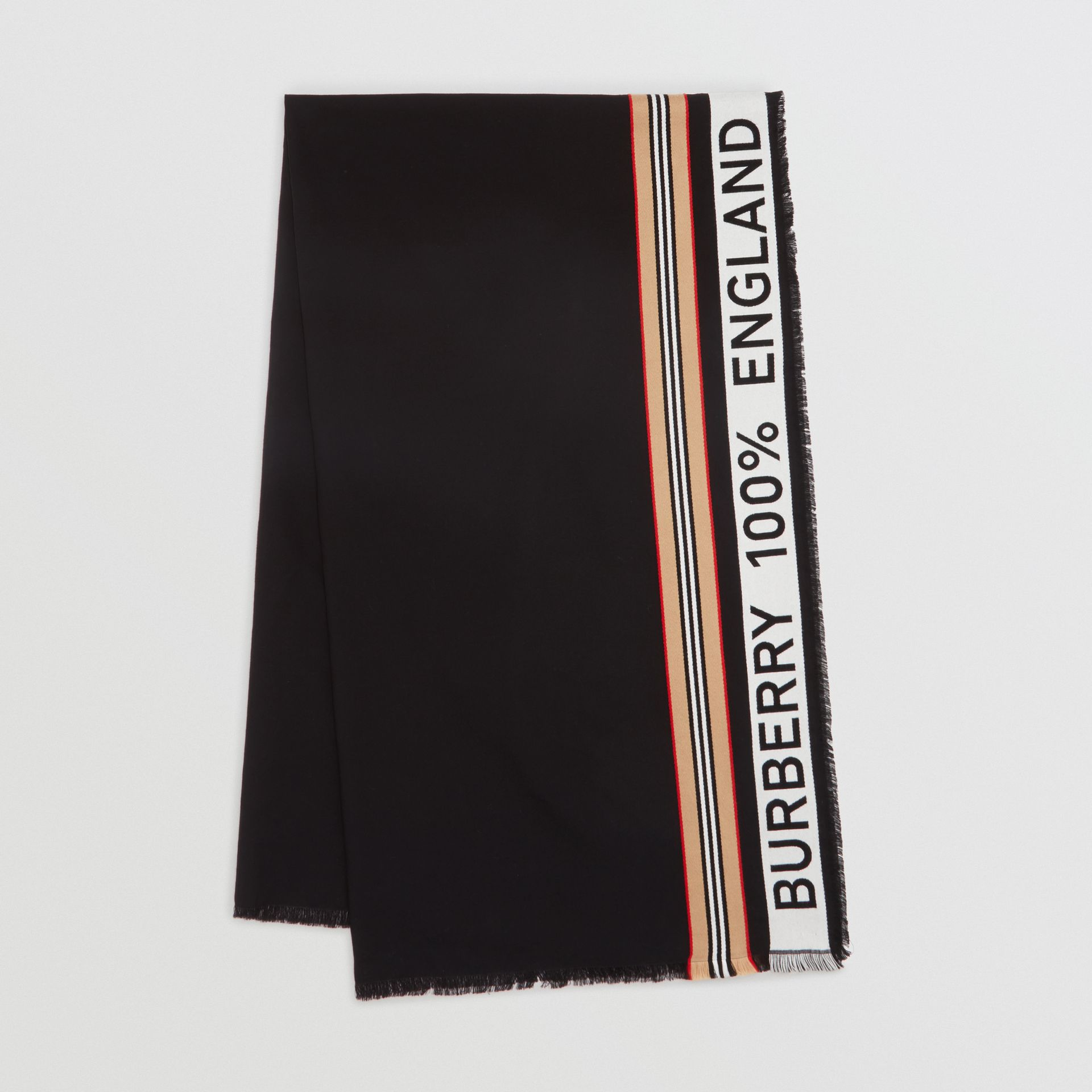 Icon Stripe Logo Detail Cotton Scarf in Black | Burberry - gallery image 0