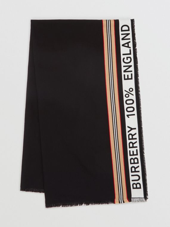 Icon Stripe Logo Detail Cotton Scarf in Black