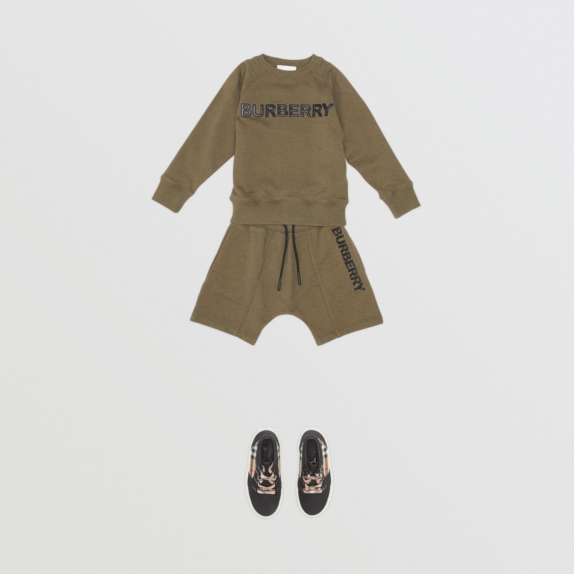 Logo Detail Cotton Drawcord Shorts in Military Olive | Burberry - gallery image 2
