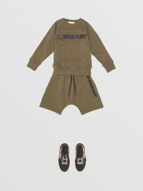 Logo Detail Cotton Drawcord Shorts in Military Olive | Burberry - cell image 2