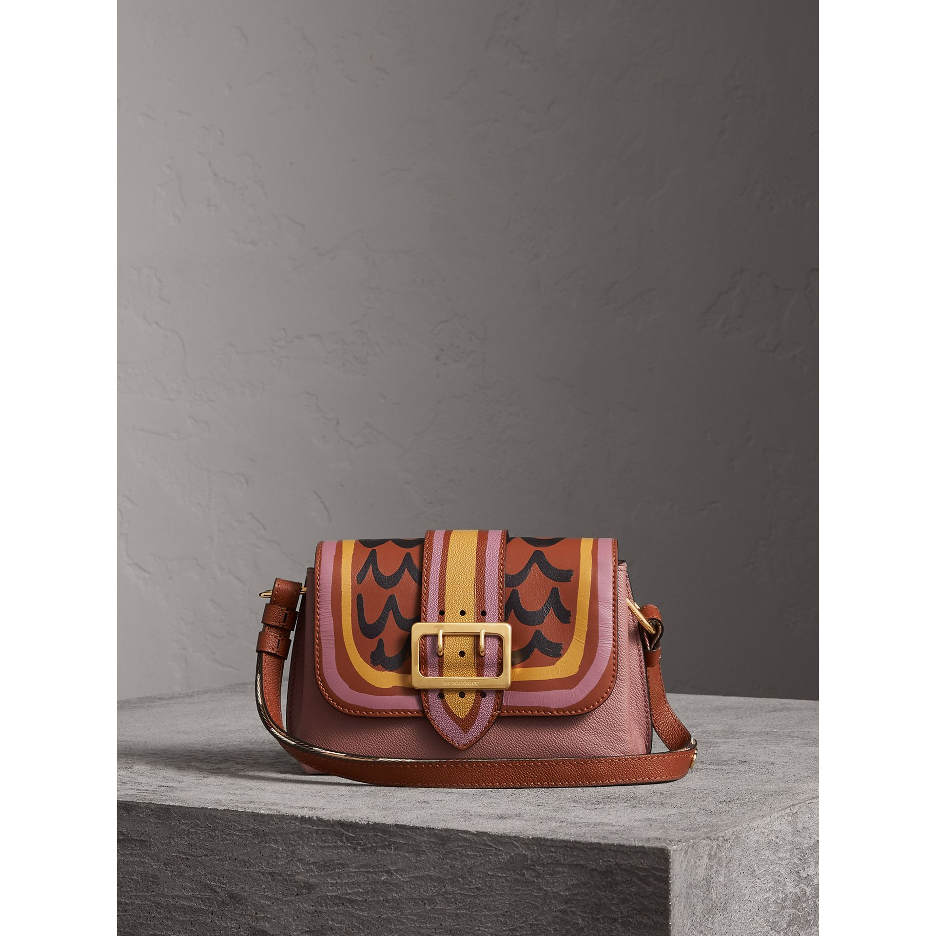 The Buckle Crossbody Bag in Trompe L'oeil Leather in Dusty Pink/bright Toffee - Women | Burberry Singapore - gallery image 1