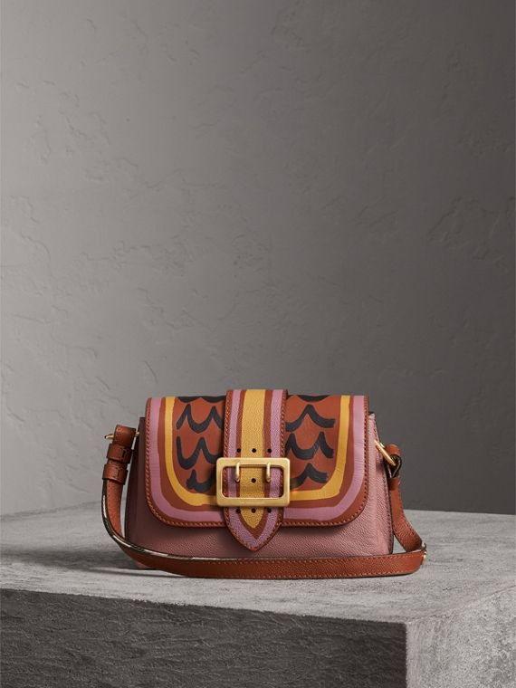 The Buckle Crossbody Bag in Trompe L'oeil Leather in Dusty Pink/bright Toffee