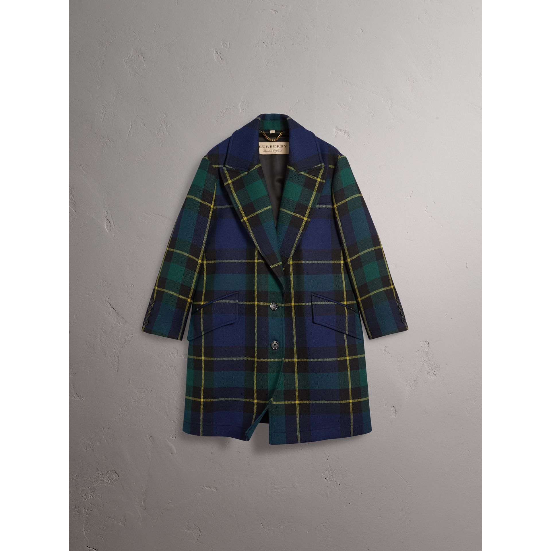 Lightweight Tartan Wool Tailored Coat in Pine Green - Women | Burberry - gallery image 3