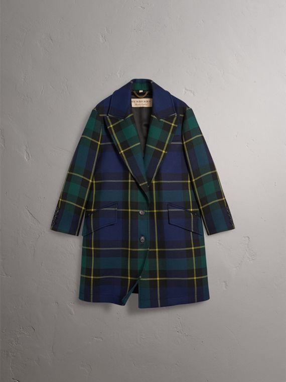Lightweight Tartan Wool Tailored Coat in Pine Green - Women | Burberry United Kingdom - cell image 3