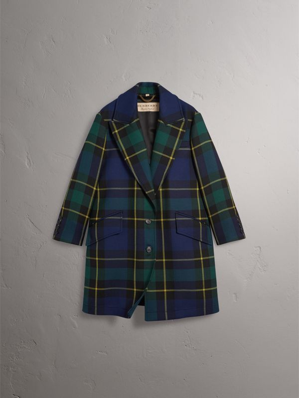 Lightweight Tartan Wool Tailored Coat in Pine Green - Women | Burberry - cell image 3