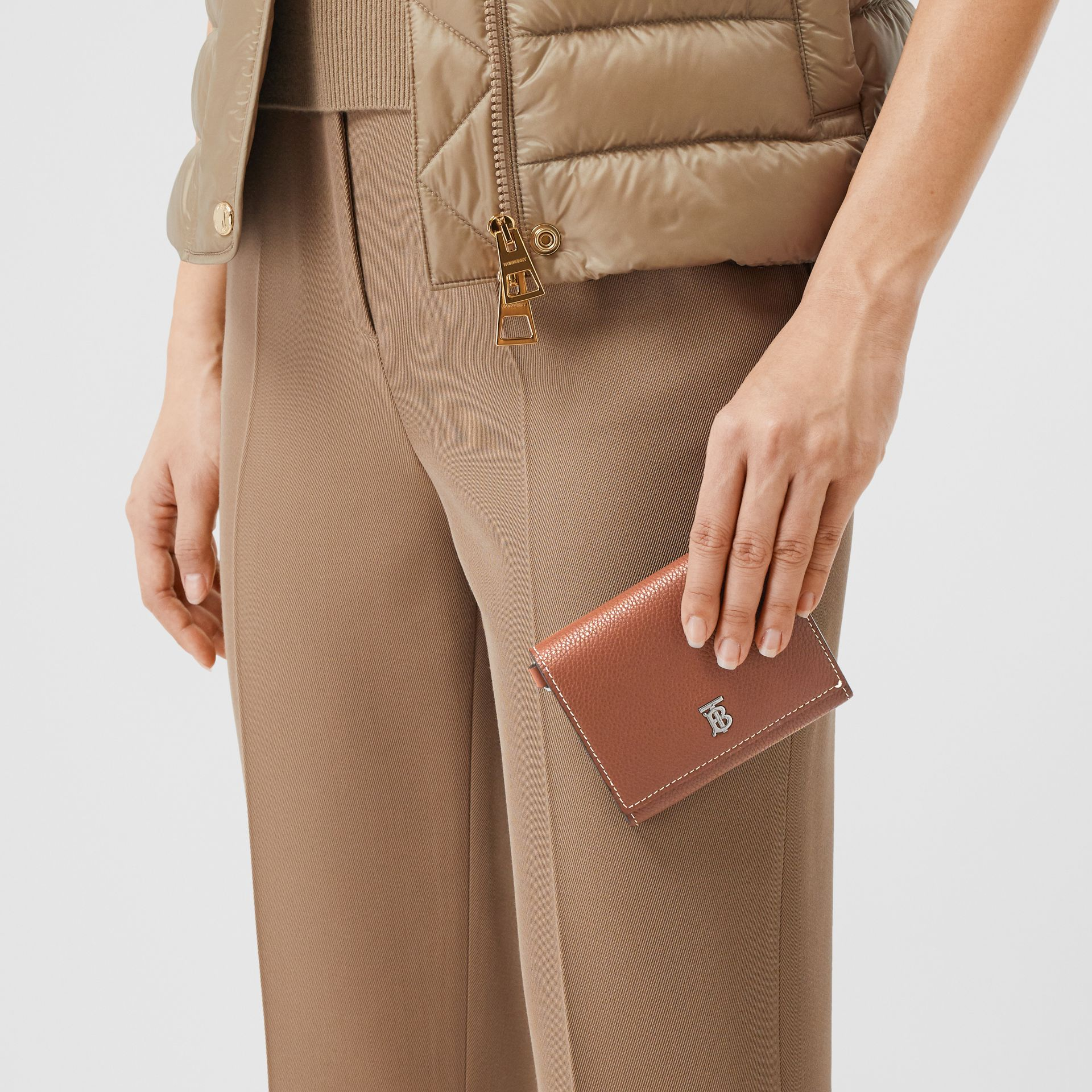 Small Grainy Leather Wallet with Detachable Strap in Tan | Burberry United Kingdom - gallery image 11