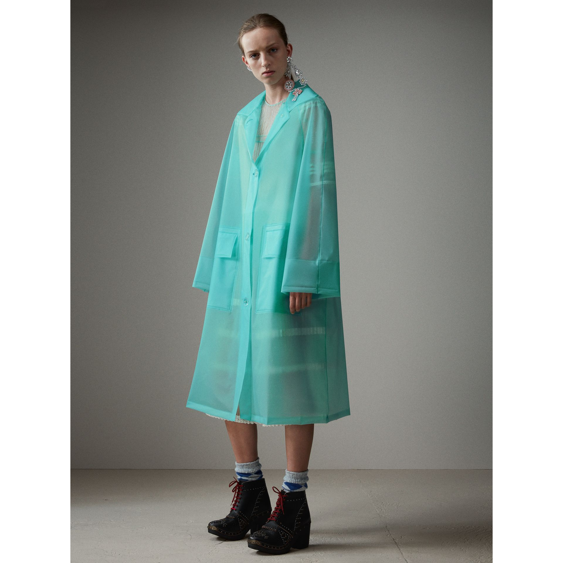 Soft-touch Plastic Car Coat in Turquoise - Women | Burberry - gallery image 6