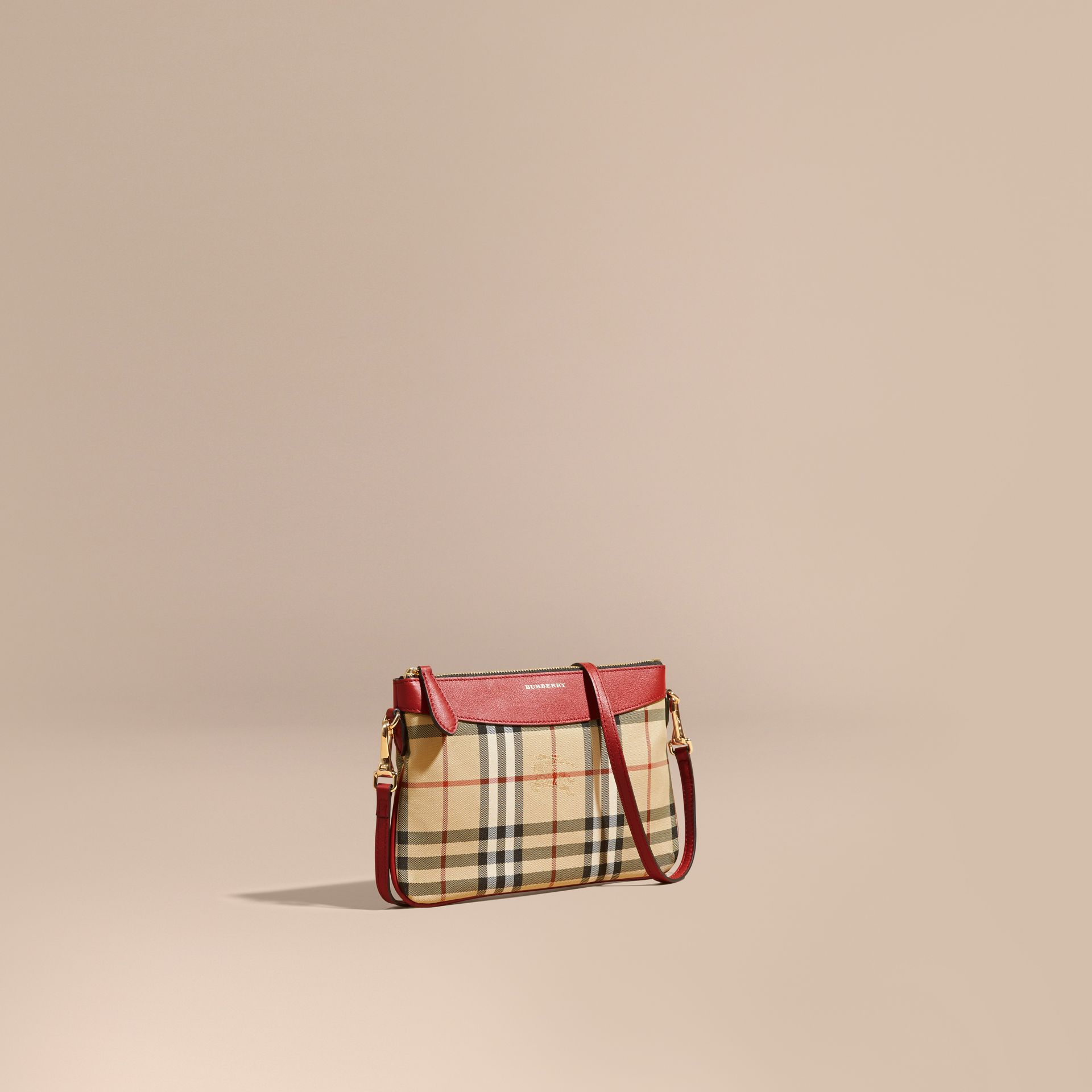Horseferry Check and Leather Clutch Bag in Parade Red - gallery image 1