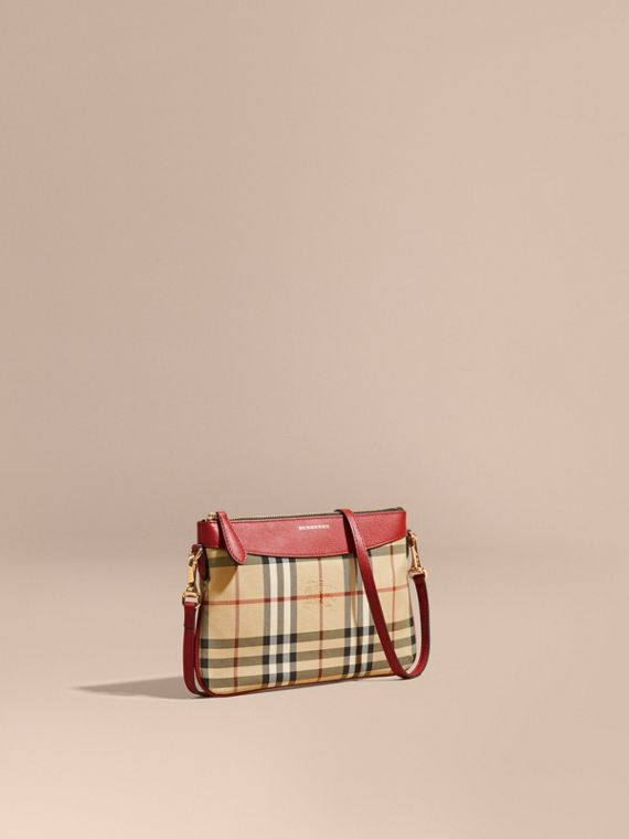 Horseferry Check and Leather Clutch Bag in Parade Red - Women | Burberry