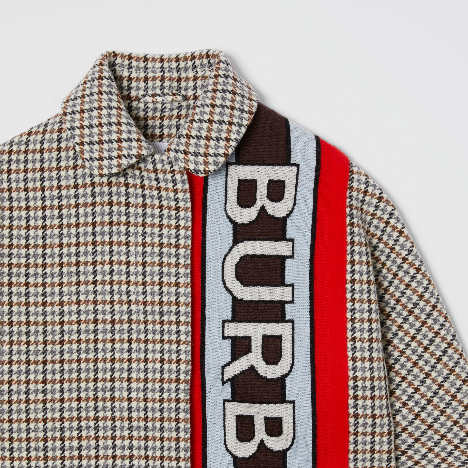 Logo Panel Houndstooth Check Wool Coat in Rust Brown | Burberry - gallery image 4