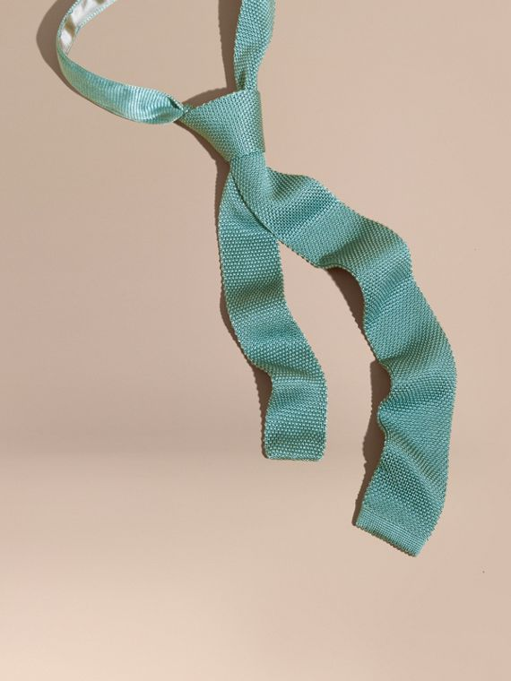 Slim Cut Knitted Silk Tie Eucalyptus Green