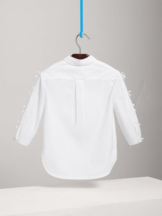 Sleeve Tie Detail Stretch Cotton Shirt in White - Girl | Burberry - cell image 3