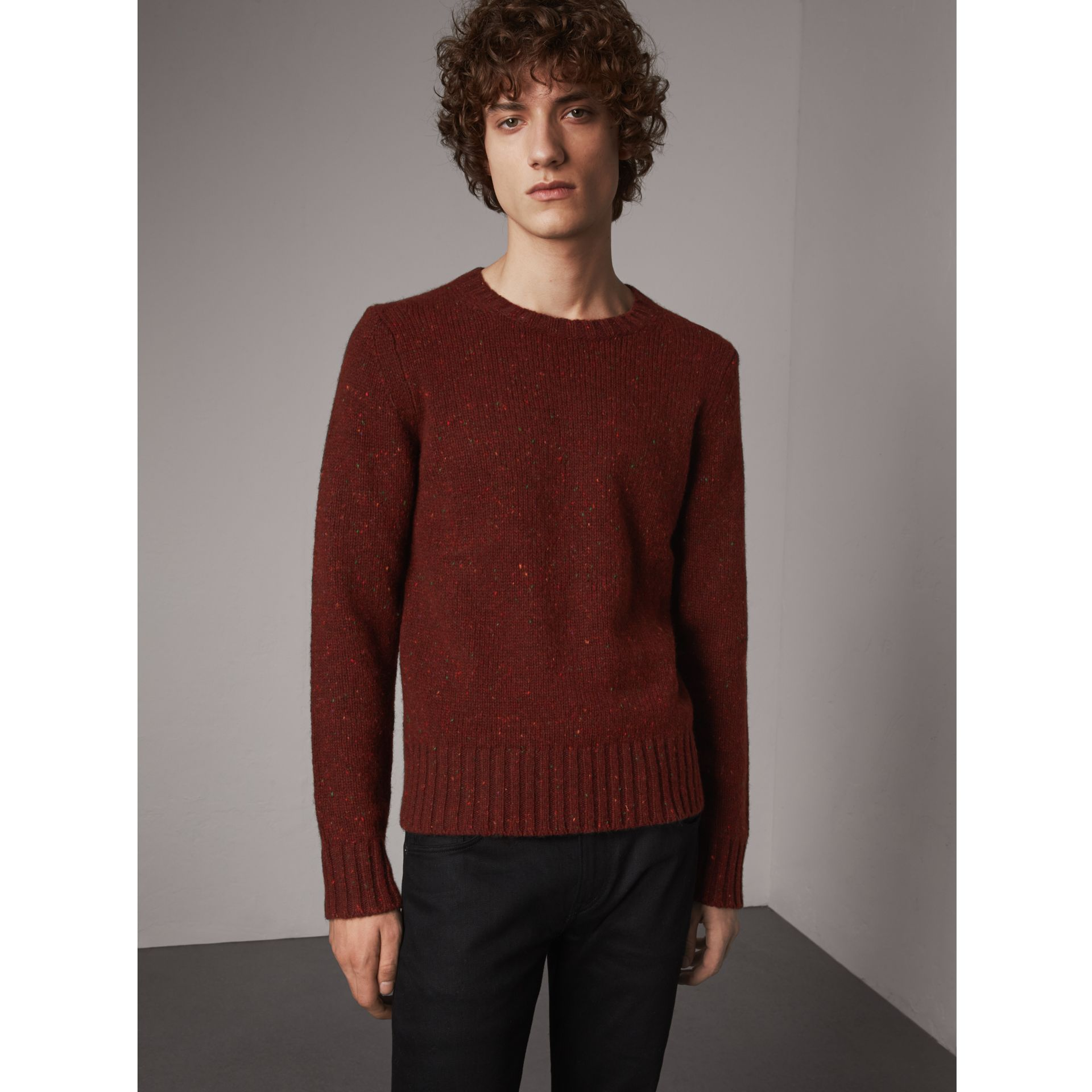 Wool Cashmere Mohair Tweed Sweater in Mahogany Red - Men | Burberry - gallery image 1