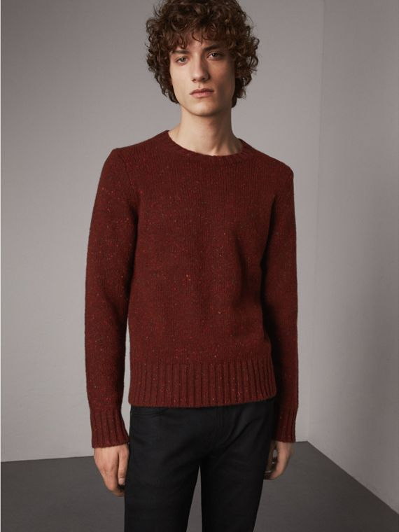 Flecked Wool Cashmere Mohair Sweater in Mahogany Red