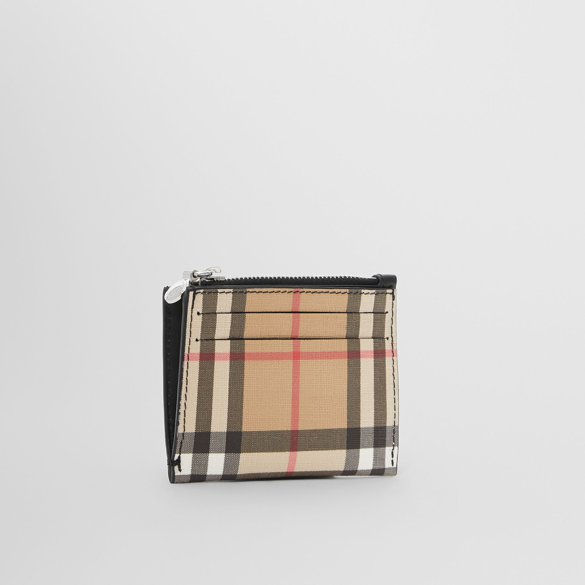 Vintage Check and Leather Zip Card Case in Black - Women | Burberry United Kingdom - gallery image 3