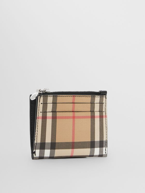 Vintage Check and Leather Zip Card Case in Black - Women | Burberry - cell image 3