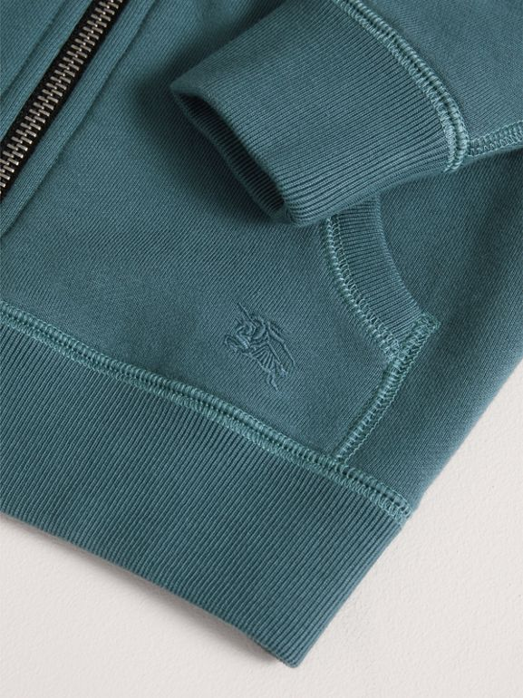 Hooded Cotton Top in Pewter Blue | Burberry - cell image 1