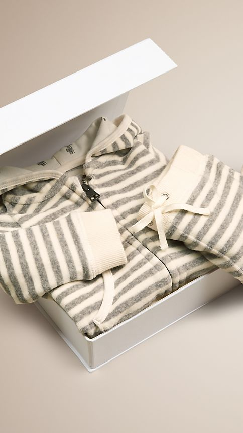 Grey melange/natural white Velour Stripe Two-Piece Set - Image 2