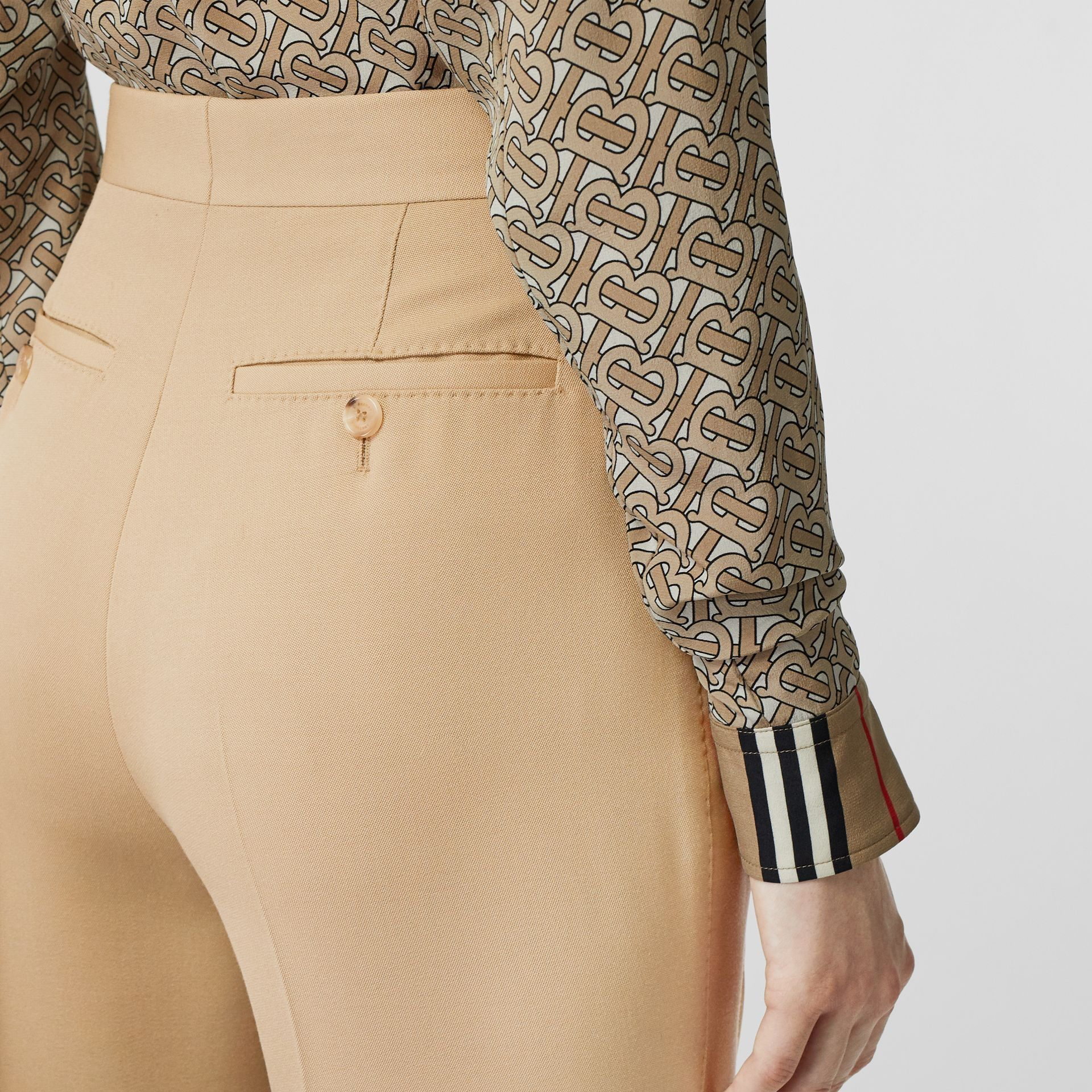 Wool Tailored Trousers in Honey - Women | Burberry - gallery image 1