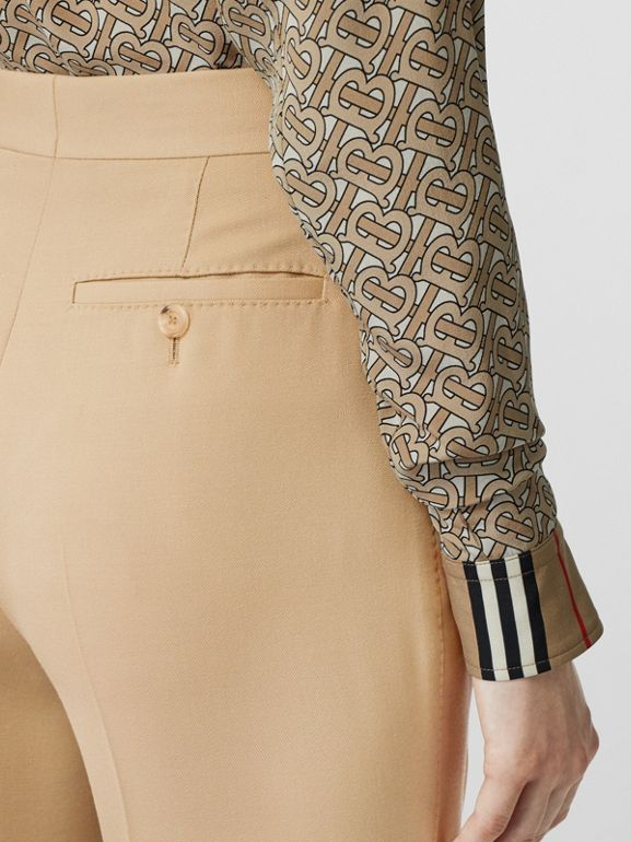 Wool Tailored Trousers in Honey - Women | Burberry Singapore - cell image 1