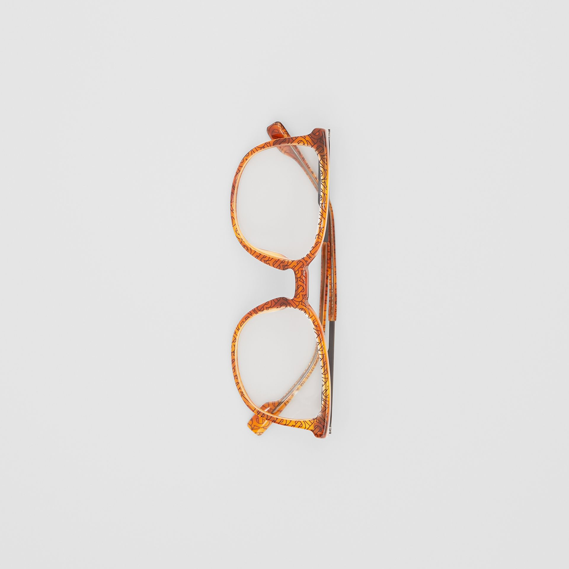 Monogram Print Square Optical Frames in Tortoiseshell Amber | Burberry - gallery image 2
