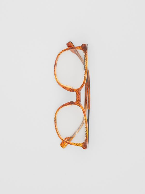 Monogram Print Square Optical Frames in Tortoiseshell Amber | Burberry - cell image 2