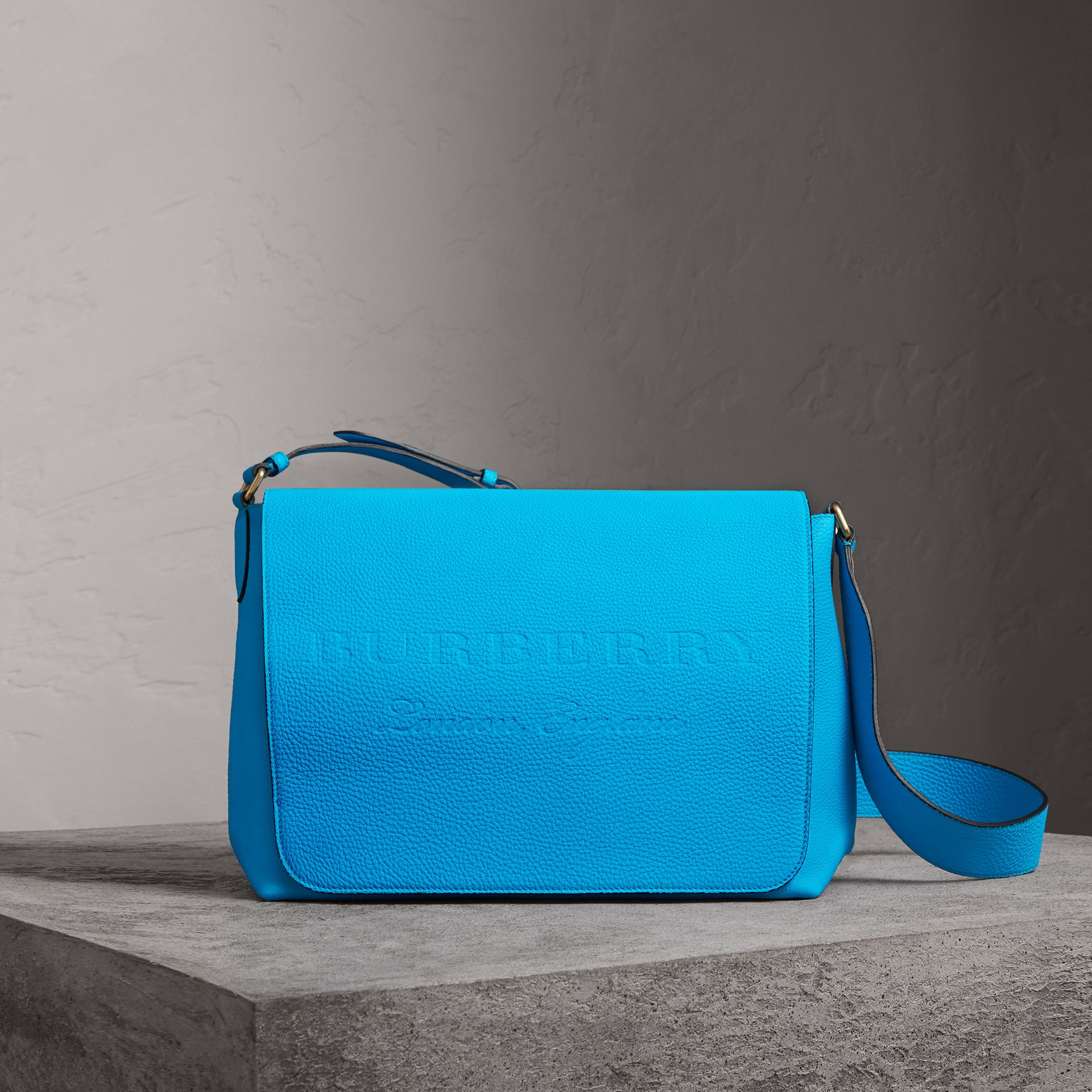 Large Embossed Leather Messenger Bag in Neon Blue | Burberry - gallery image 0