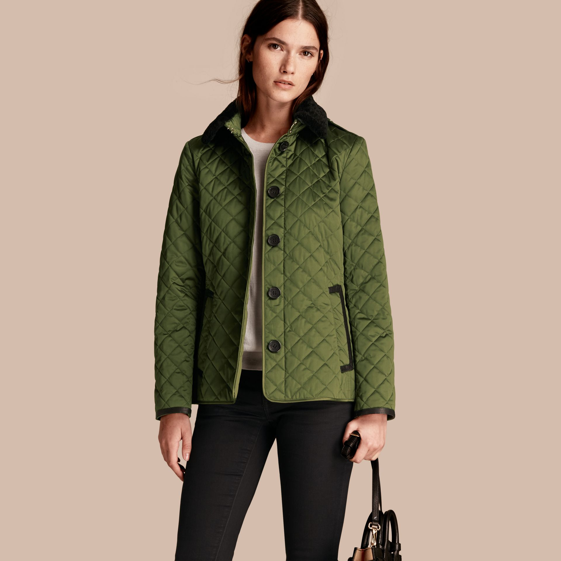 Bright moss green Quilted Jacket with Shearling Collar - gallery image 1