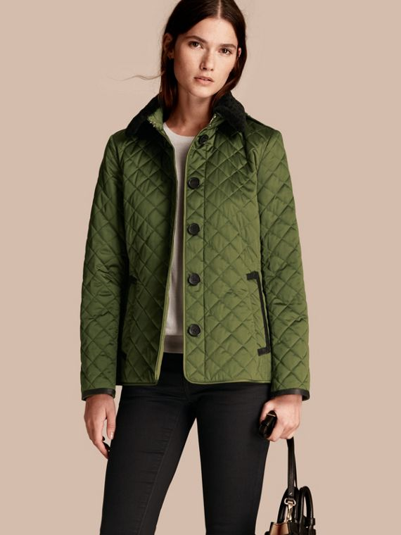 Quilted Jacket with Shearling Collar