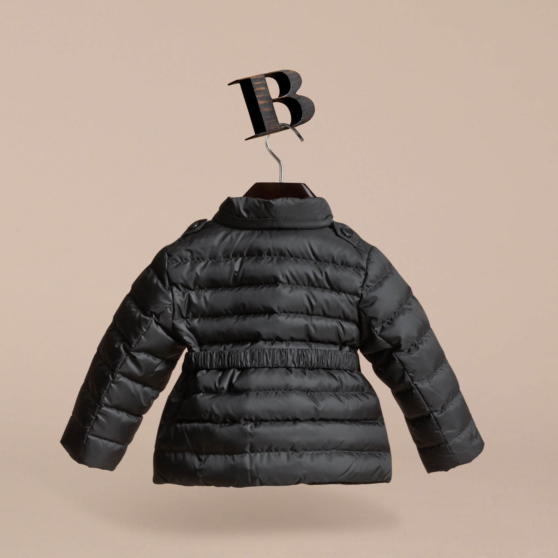 Black Bow Detail Puffer Jacket - gallery image 4