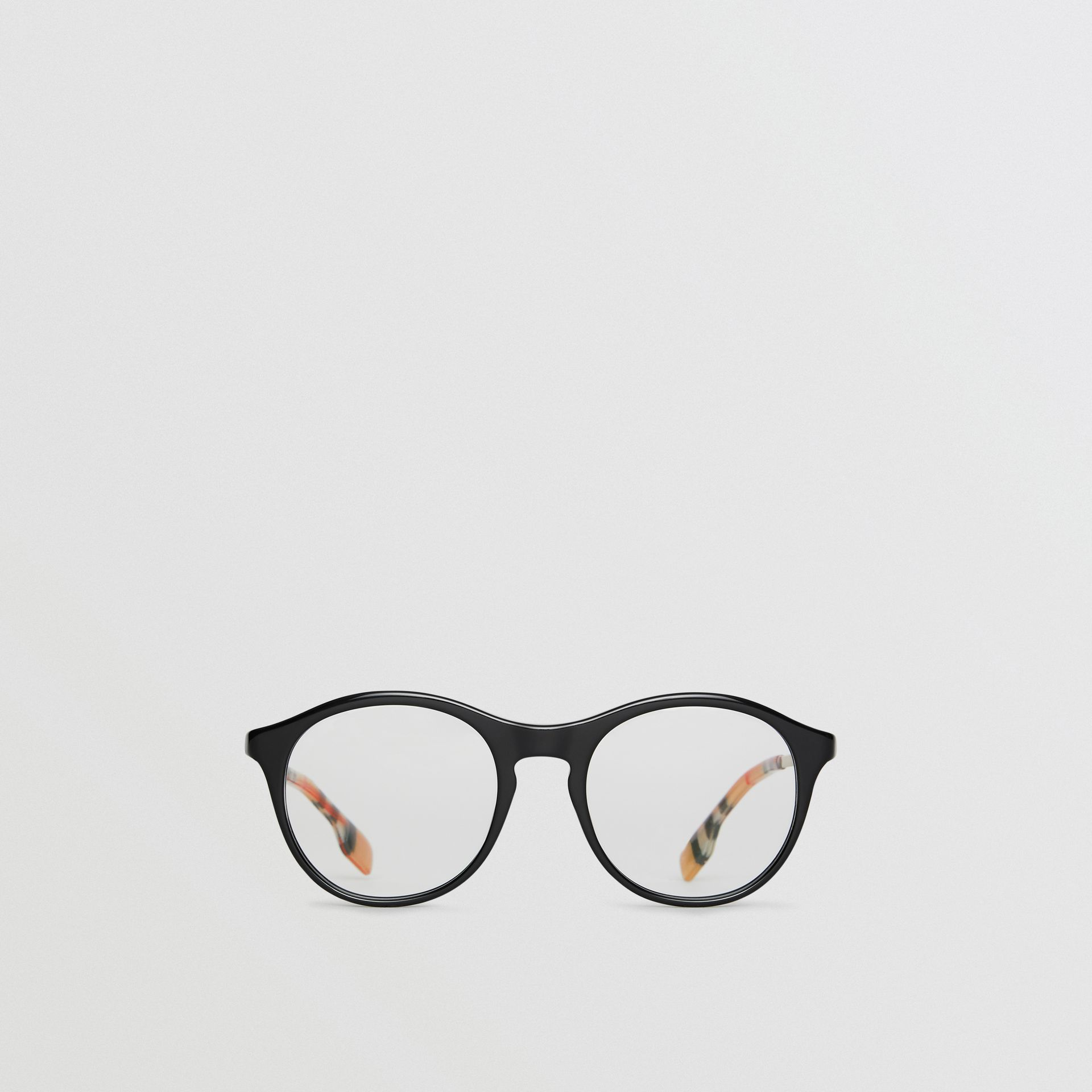 Vintage Check Detail Round Optical Frames in Black - Women | Burberry - gallery image 0