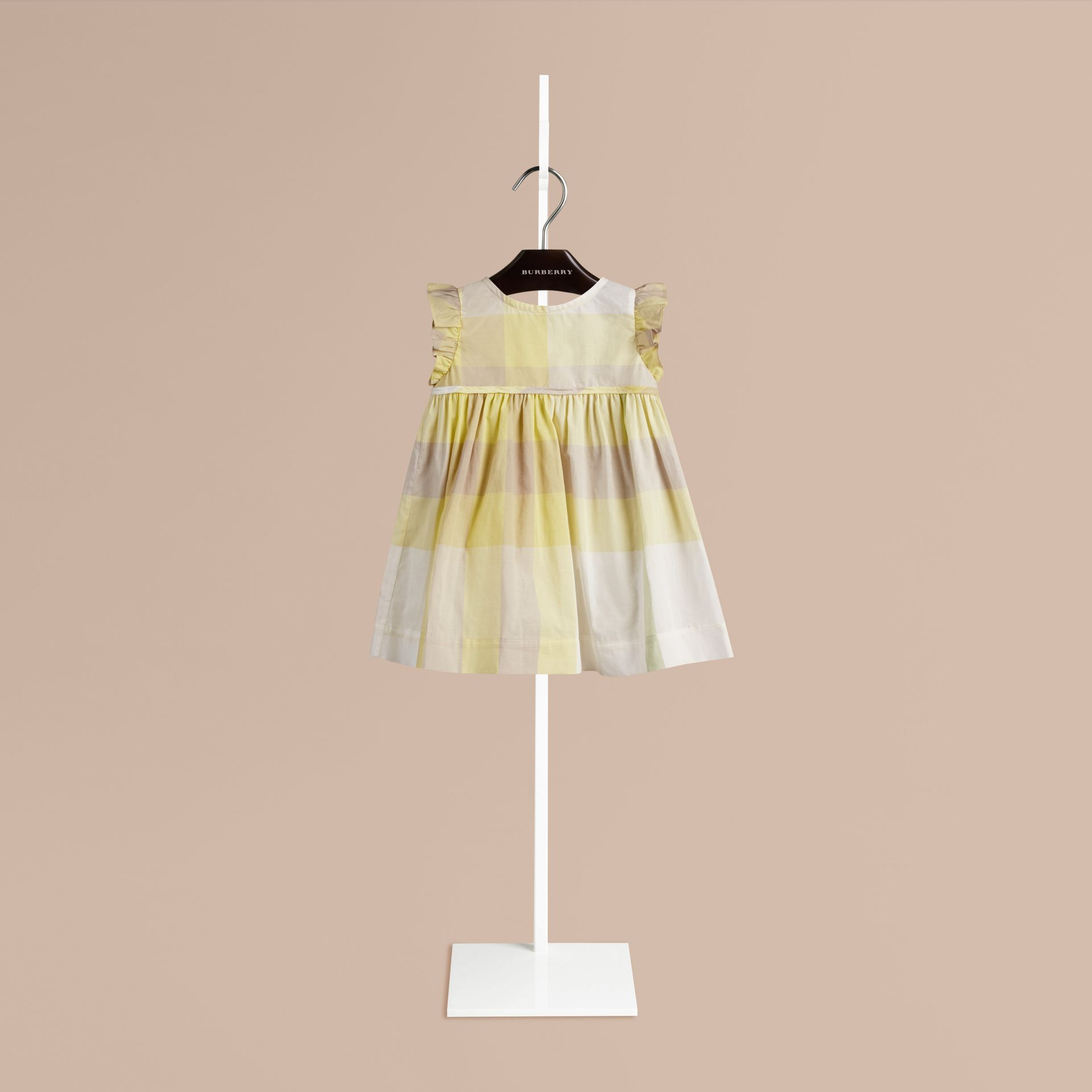 Pale lemon Flutter Sleeve Check Dress Pale Lemon - gallery image 1