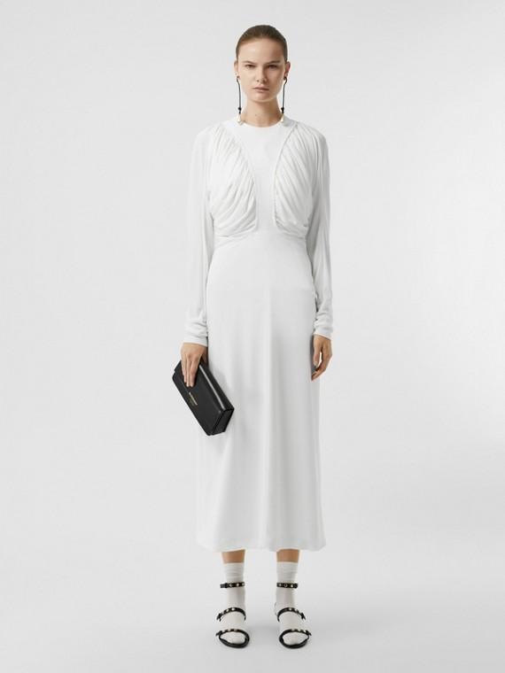 Vestido largo en tejido jersey con fruncidos (Blanco)