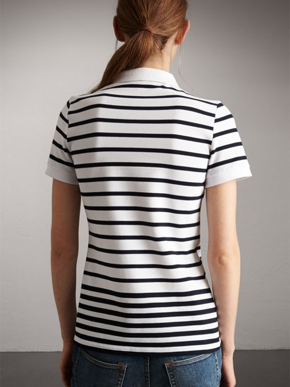 Striped Stretch Cotton Piqué Polo Shirt in White/navy - Women | Burberry - cell image 2