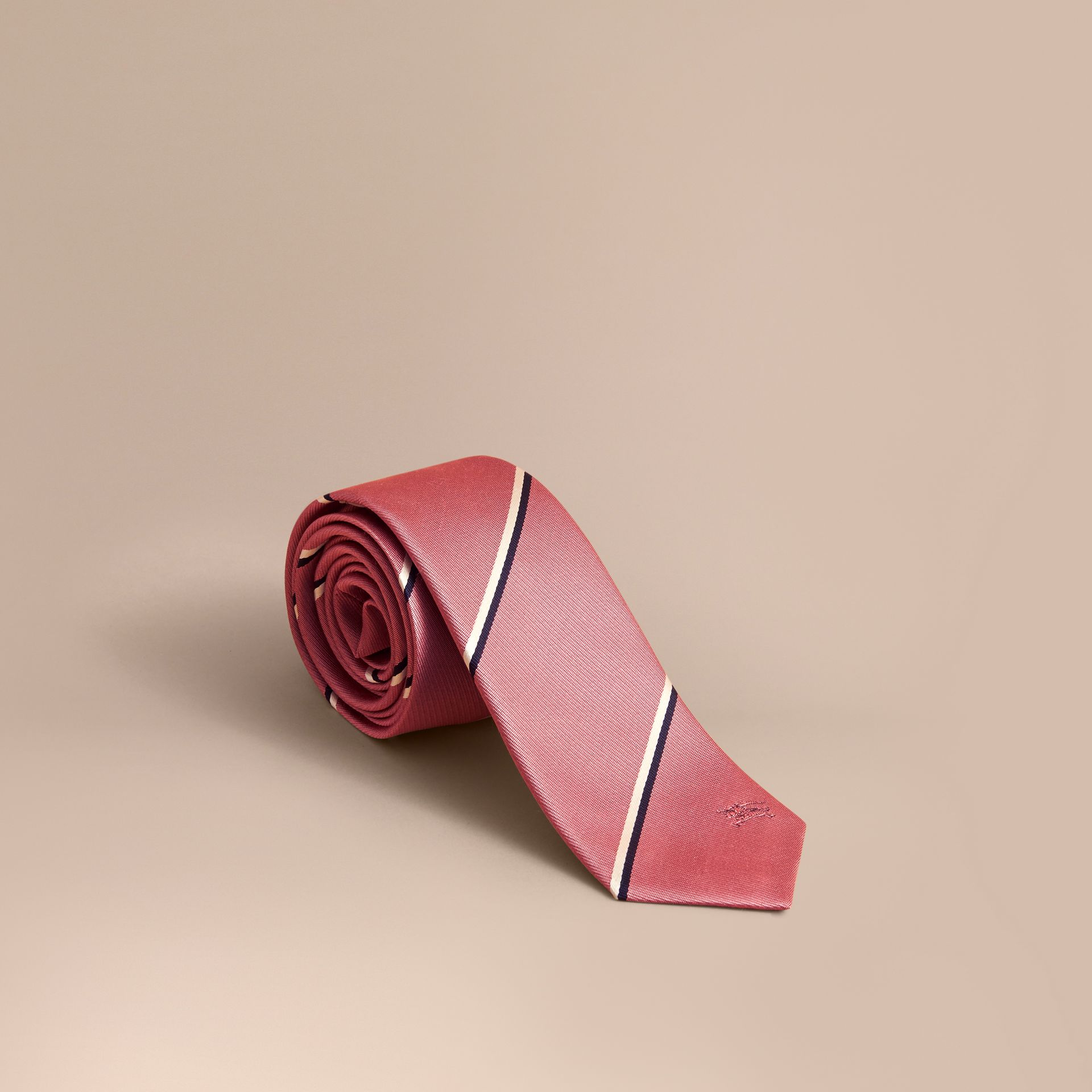 Slim Cut Striped Silk Tie in Rose Pink - Men | Burberry - gallery image 1