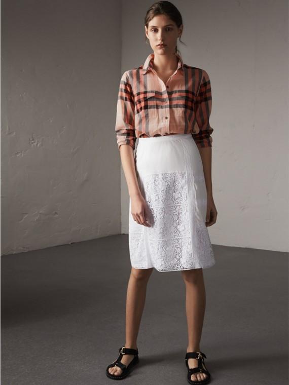 Camisa en algodón con motivo a cuadros (Albaricoque)