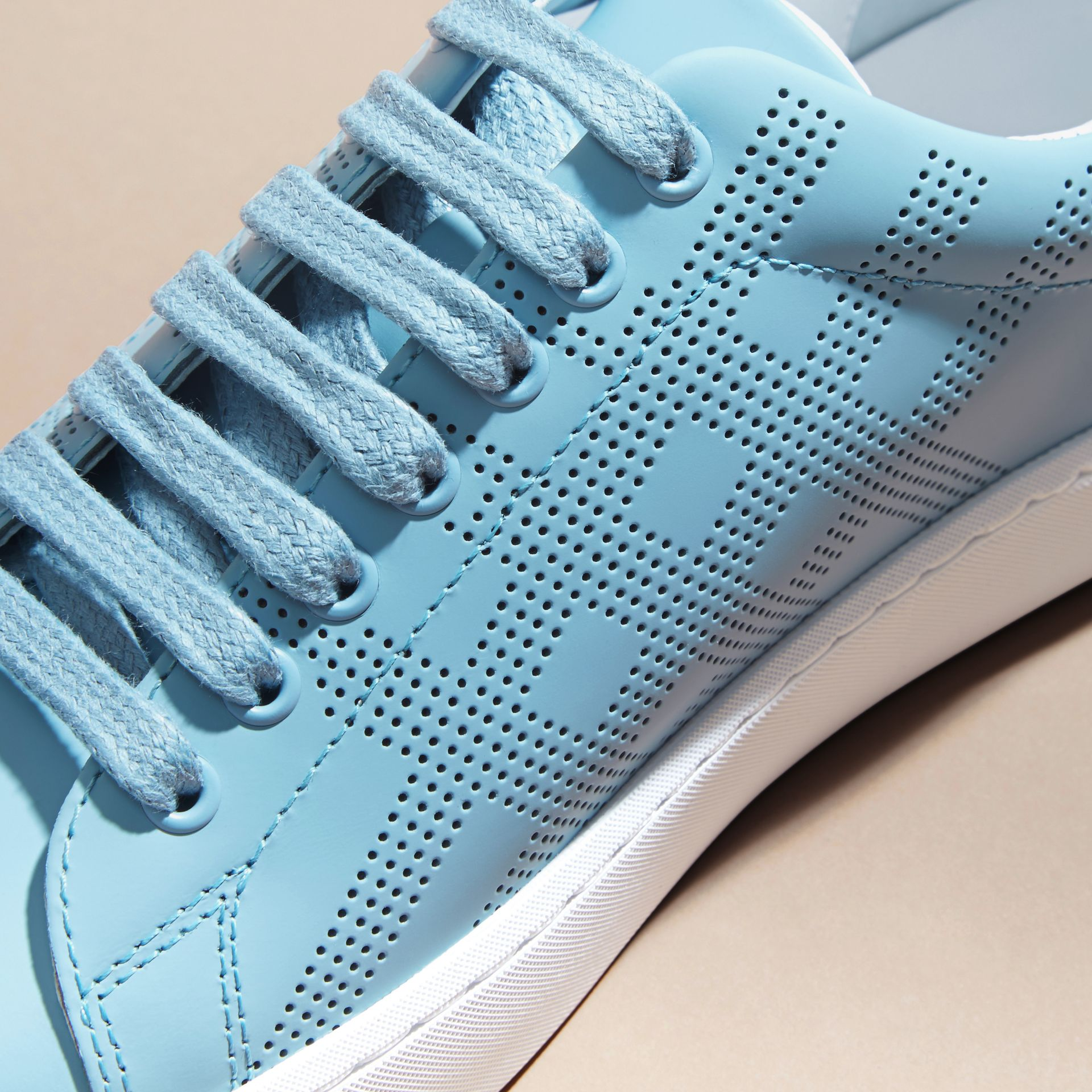 Powder blue Perforated Check Leather Trainers Powder Blue - gallery image 2